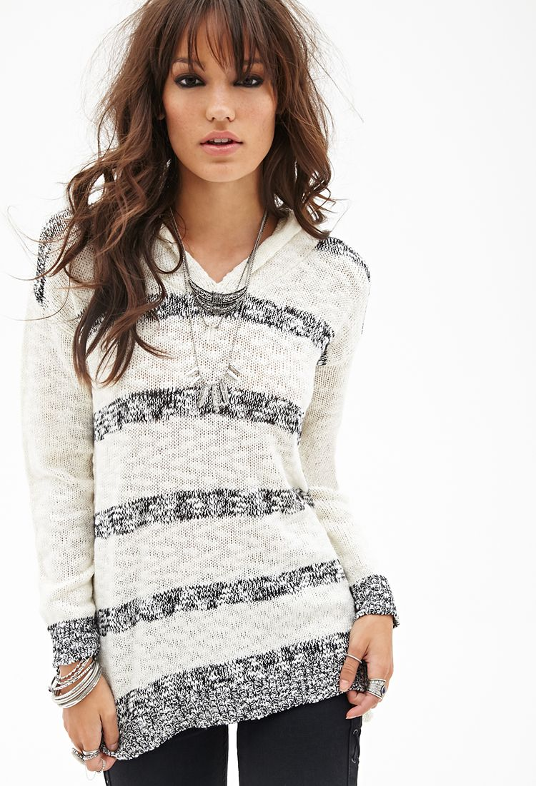 Hooded Striped Sweater #F21StatementPiece