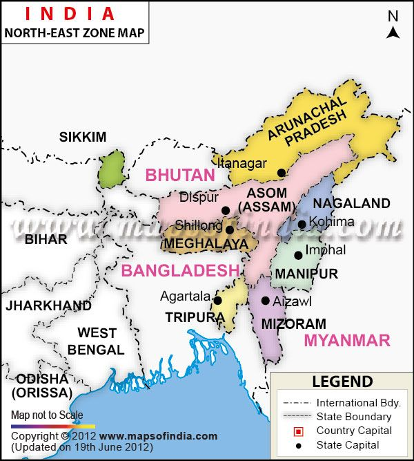 Map Of North East North East India Zonal Map | India Maps in 2019 | India map