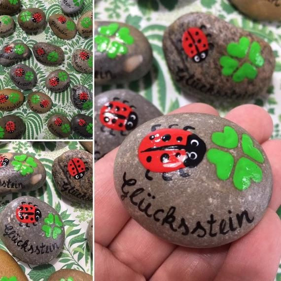 Stone lucky charm Glücksstein/Wish stone fly fungus, lucky beetle, clover leaf guest gift gift table decoration painted hand painted