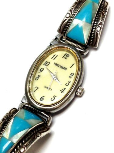 Vintage sterling silver southwestern turquoise stone ladies wrist watch