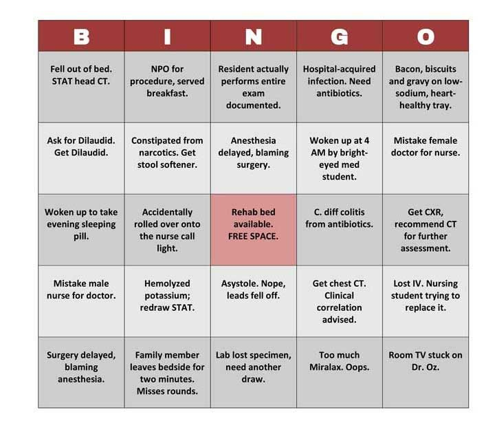 Patients Can Now Play Hospital Bingo To Pass Time Hospital