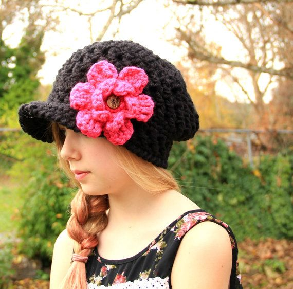 crochet chunky slouchy black newsboy hat by TattewoseYarnDesigns