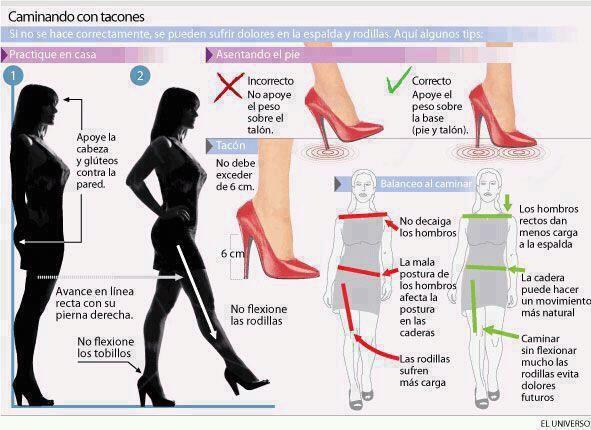 8ebb1ea24 Infografia  Cómo andar bien con  tacones