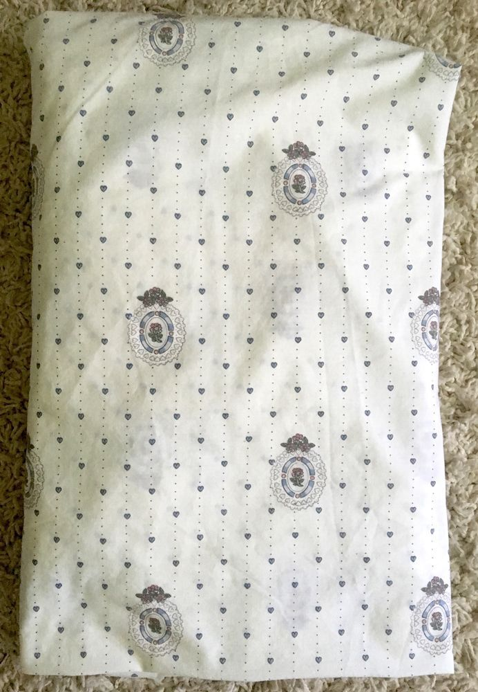 Vintage Louis Nichole Blue U0026 White Floral Hearts Twin Bed Fitted Sheet
