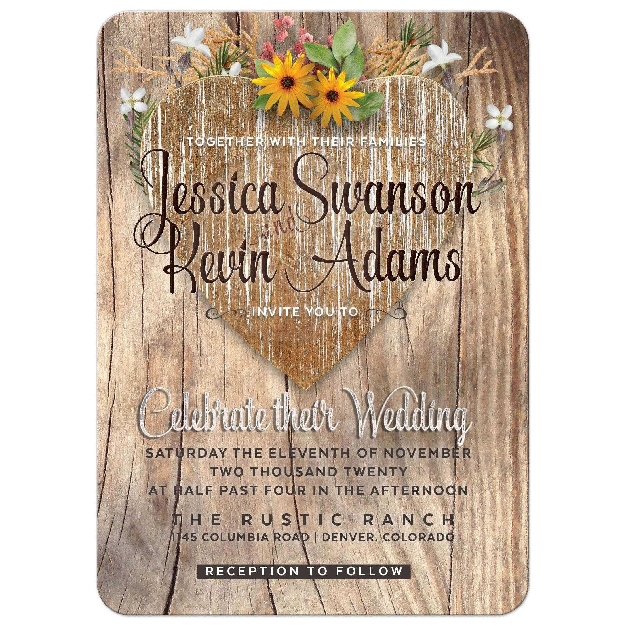 Love Heart Wildflowers Rustic Timber Wedding Invitation With Sunflowers: Sunflower Wedding Invitations Rustic Antlers At Reisefeber.org