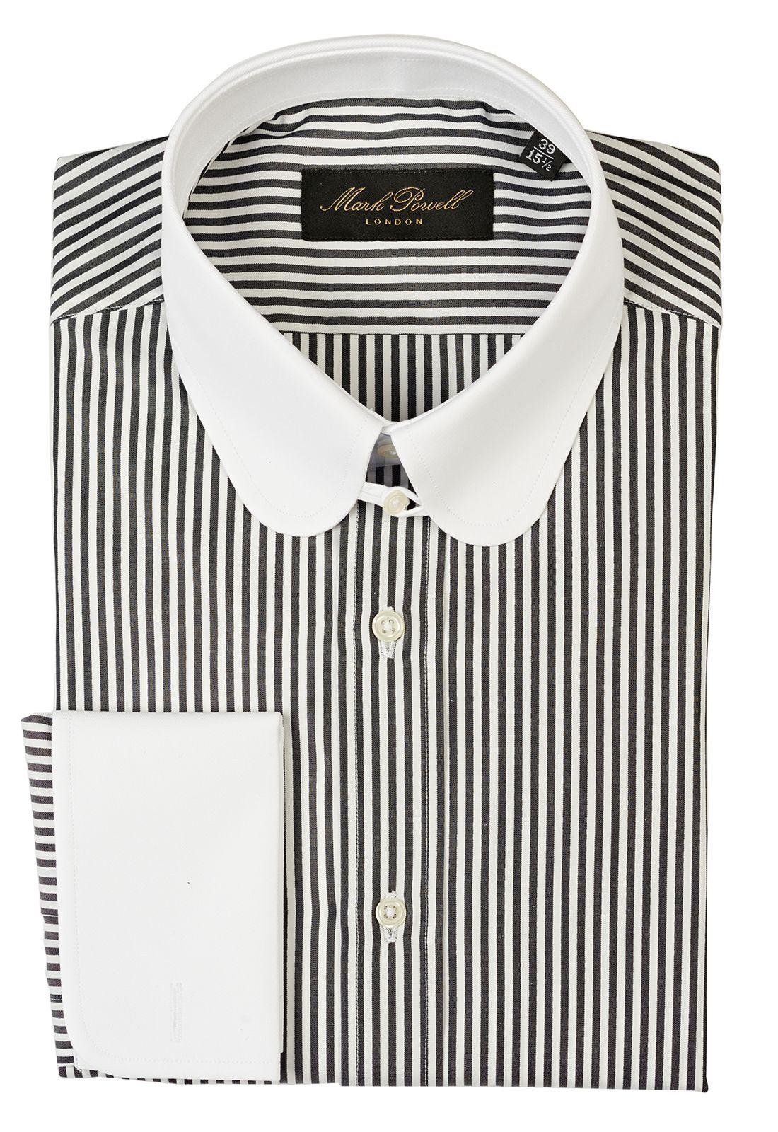 Round Tab Collar Shirt Stripe Black White Mens Shirt Dress Club Collar Dress Shirt Shirt Collar Styles [ 1600 x 1100 Pixel ]