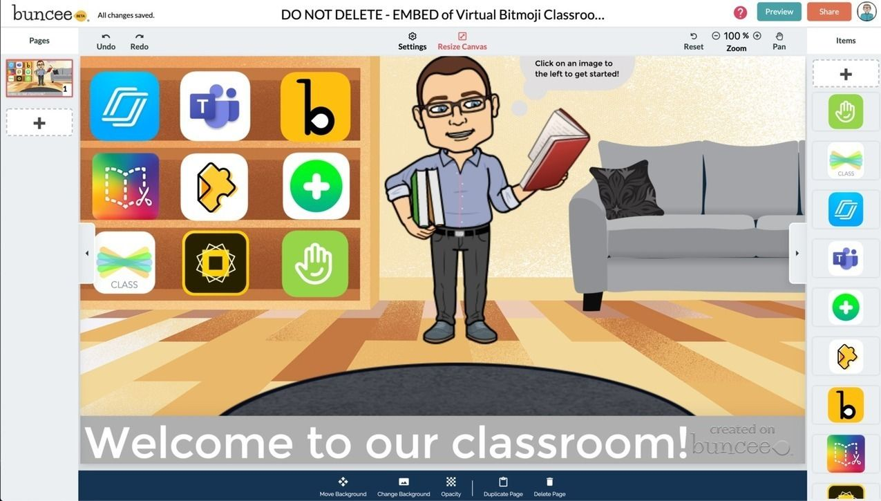How To Create A Virtual Classroom With Your Bitmoji In Buncee Soup For Thought In 2020 Virtual Classrooms Classroom Classroom Background