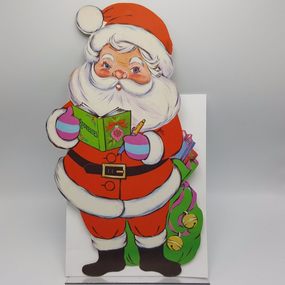 VTG CHRISTMAS EUREKA FLOCKED SANTA CHECKING HIS LIST DIECUT CARDBOARD DECORATION