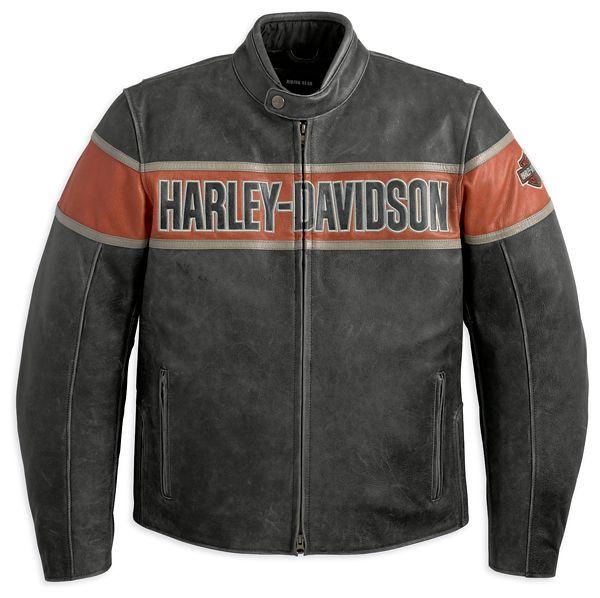 Harley Davidson schwarze Herren Lederjacke Größe S