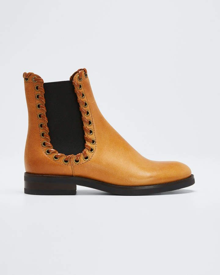 See by Chloe Sierra Calf Cuoio Whipstitched Booties, Light Brown #seebychloe