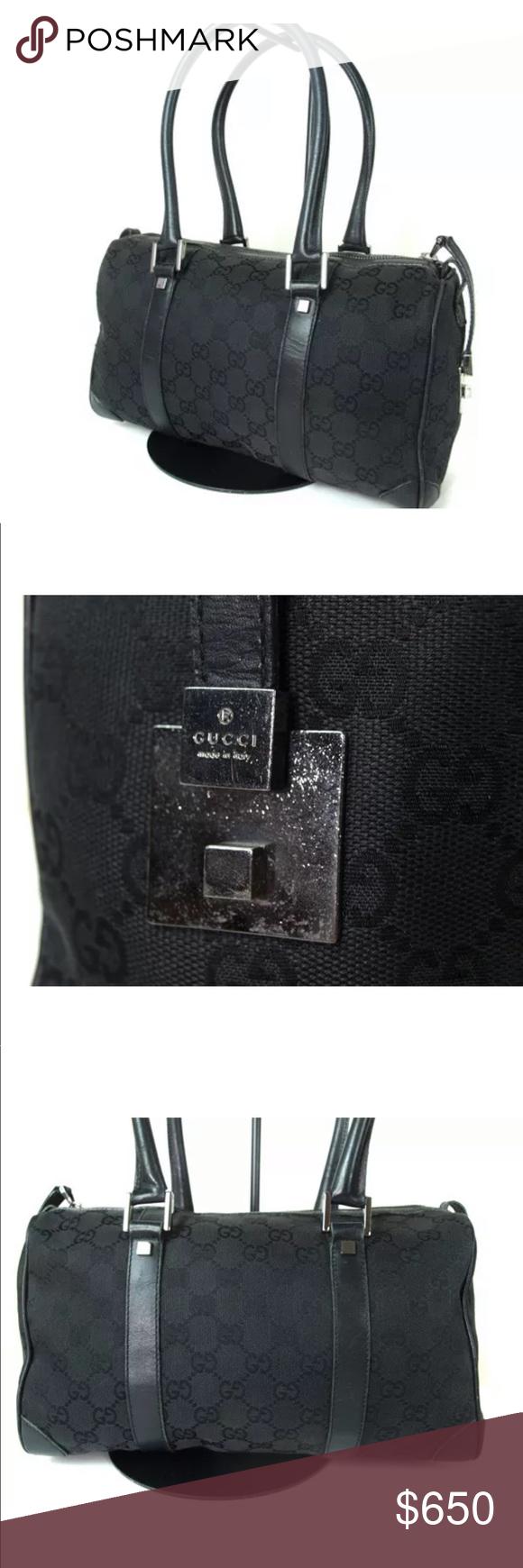 7914211cddd Gucci Bag Black canvas Signature monogram Leather trim Silver hardware Gucci  Bags Shoulder Bags