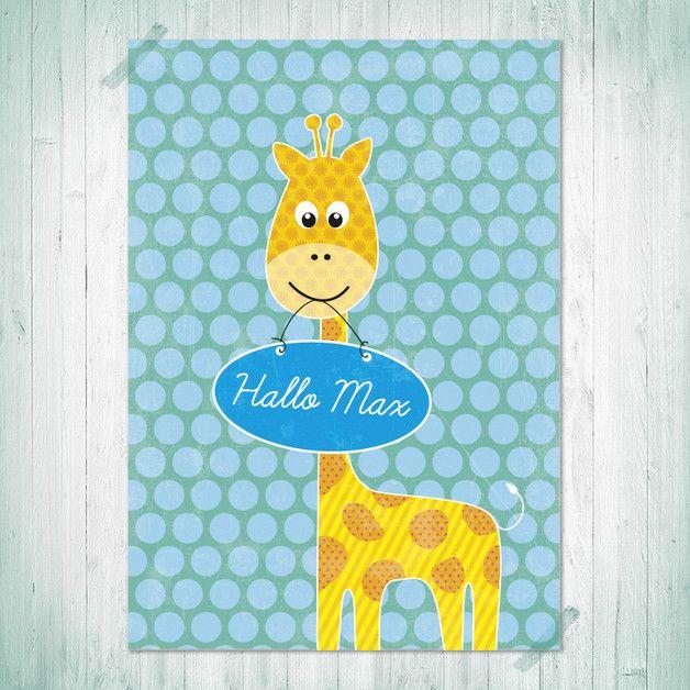 Kinderzimmer wandgestaltung giraffe  Wandgestaltung - Kinderbild, Giraffe mit Schild, Druck A4 - ein ...