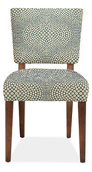 Georgia Chair. 50% acrylic, 33% recycled polyester, 17% cotton weave OR 62% rayon, 38% polyester jacquard OR custom. Fabric: Mink, Slate dots (Mirror) OR Natural, Sahara, Otter (Dustin). Legs: Cherry OR ebony 18w 23d 33hRoom & Board$349
