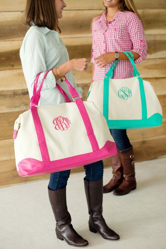 Embroidered Monogram Weekender Bag Personalized Bridesmaid Gift Duffel  Travel Mint Pink Seersucker eff9f887f65f1
