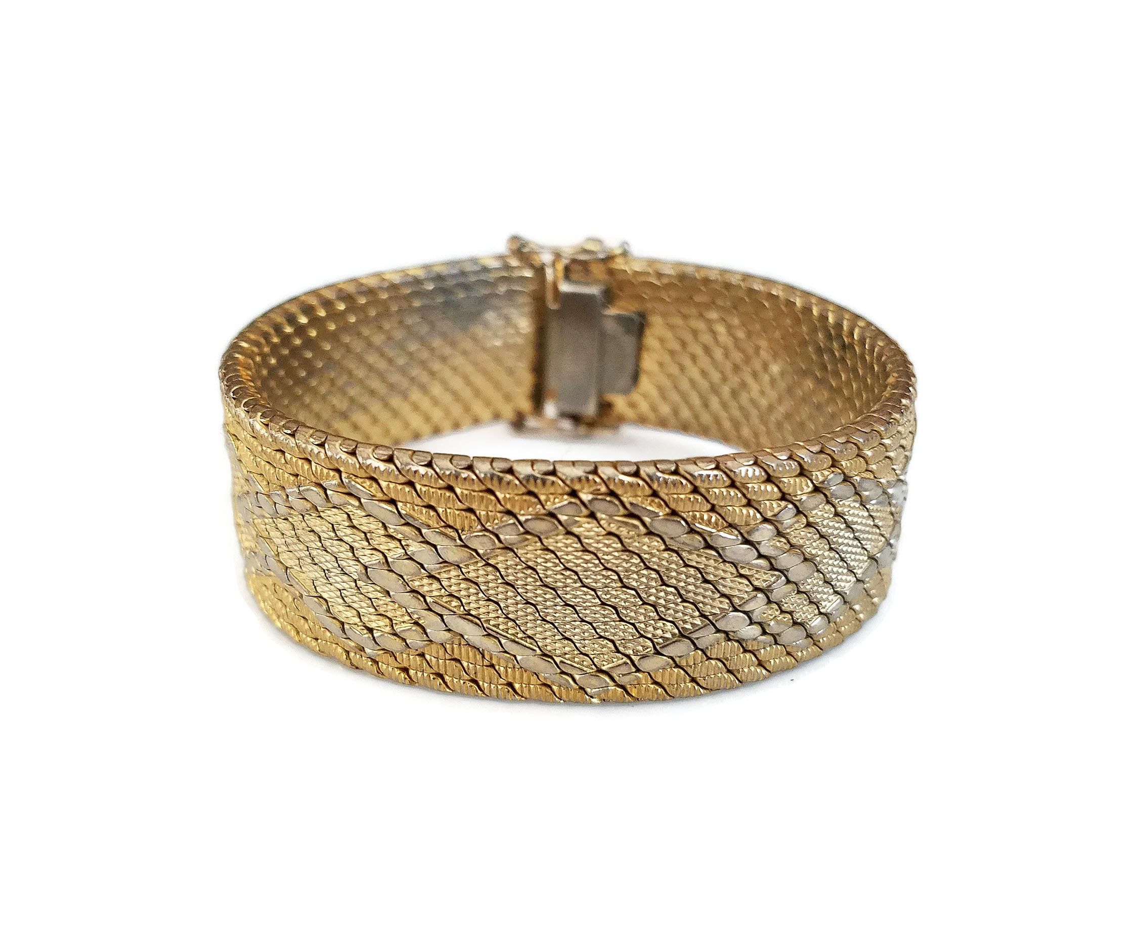 fac04ef2629eb 18k Gold Plated DeCesare Wide Mesh Bracelet - Made in Italy, Diamond ...