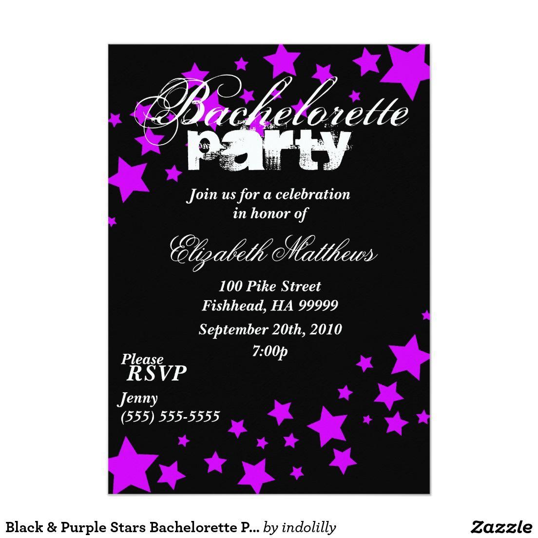 black purple stars bachelorette party invitation bachelorette