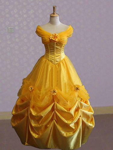 Beauty And The Beast Princess Belle Costume Yellow Dress For Adults