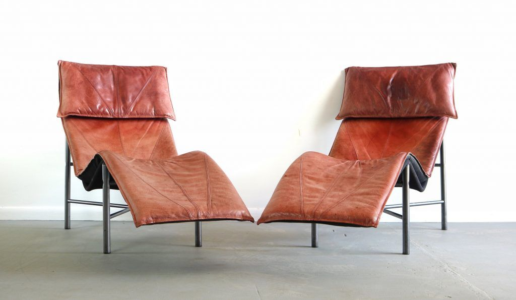 Mid Century Danish Modern Brown Leather Chaise Lounge Chair By