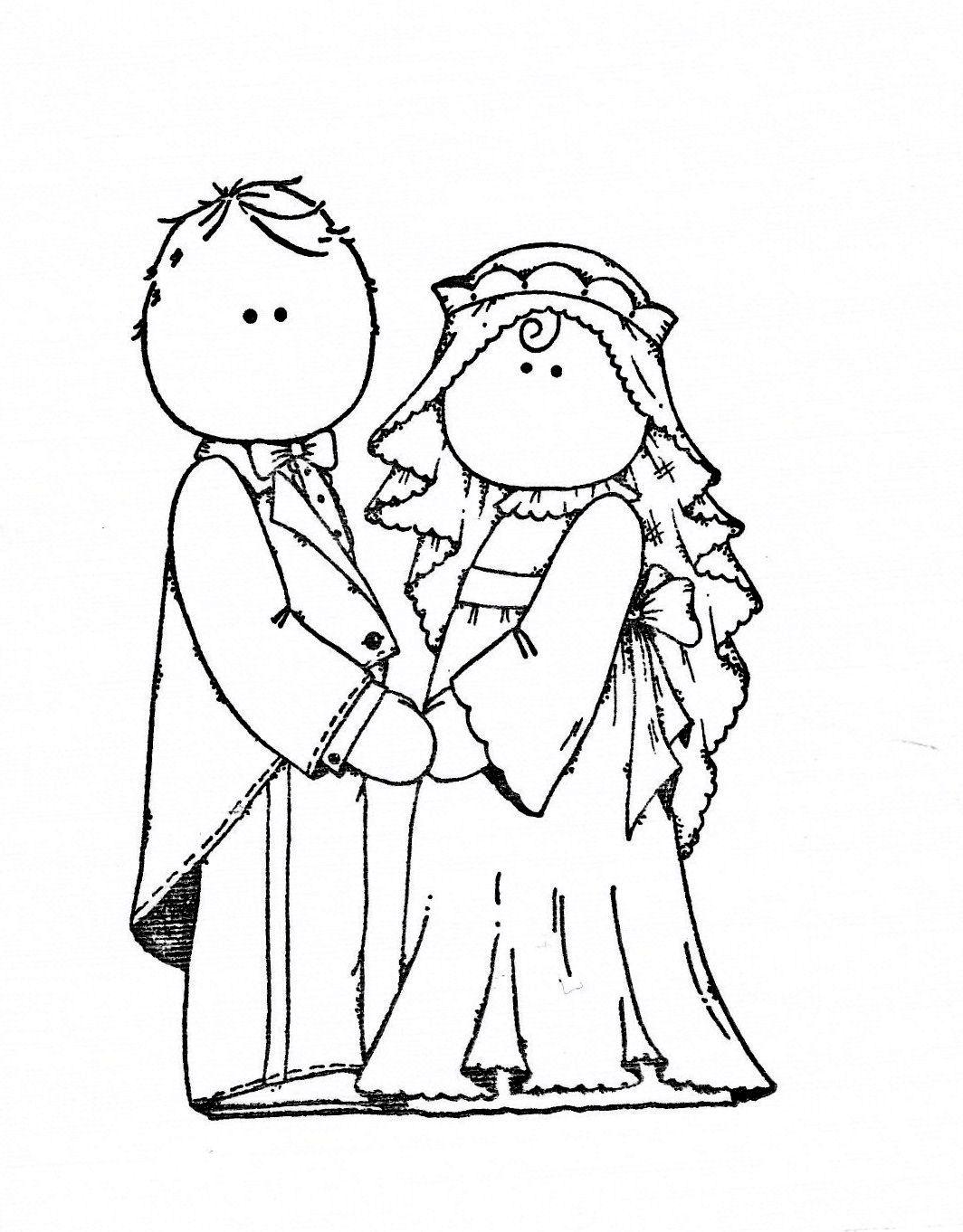 Bride And Groom Desenhos Estampas Colorir