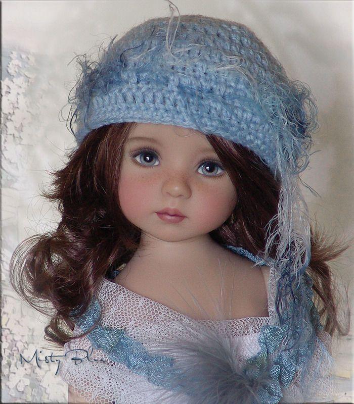MISTY BLUE Hat 4Effner Little Darling, Mini Fe, Ellowyne, Prudence, BJD by Linda