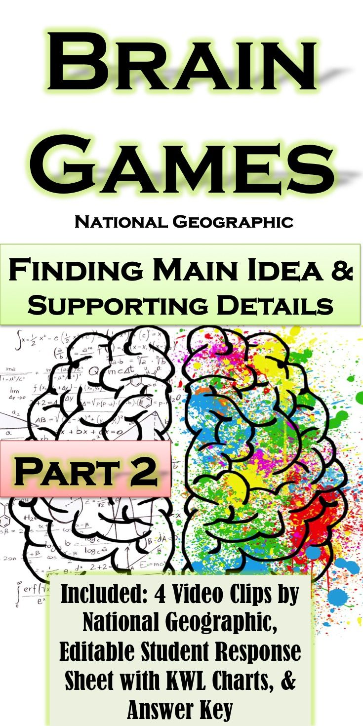 Finding Main Idea & Supporting Details with Brain Games By National ...