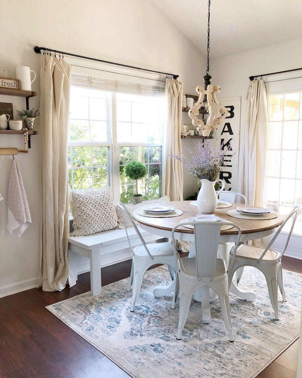 85 Beautiful Farmhouse Living Room Curtains Decor Ideas ... on Farmhouse Dining Room Curtain Ideas  id=78303