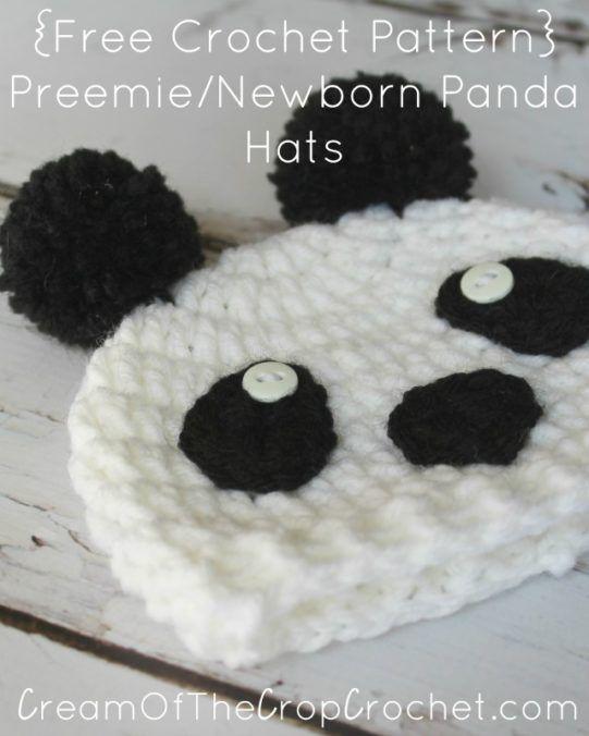 Cream Of The Crop Crochet ~ Preemie/Newborn Panda Hats {Free Crochet ...