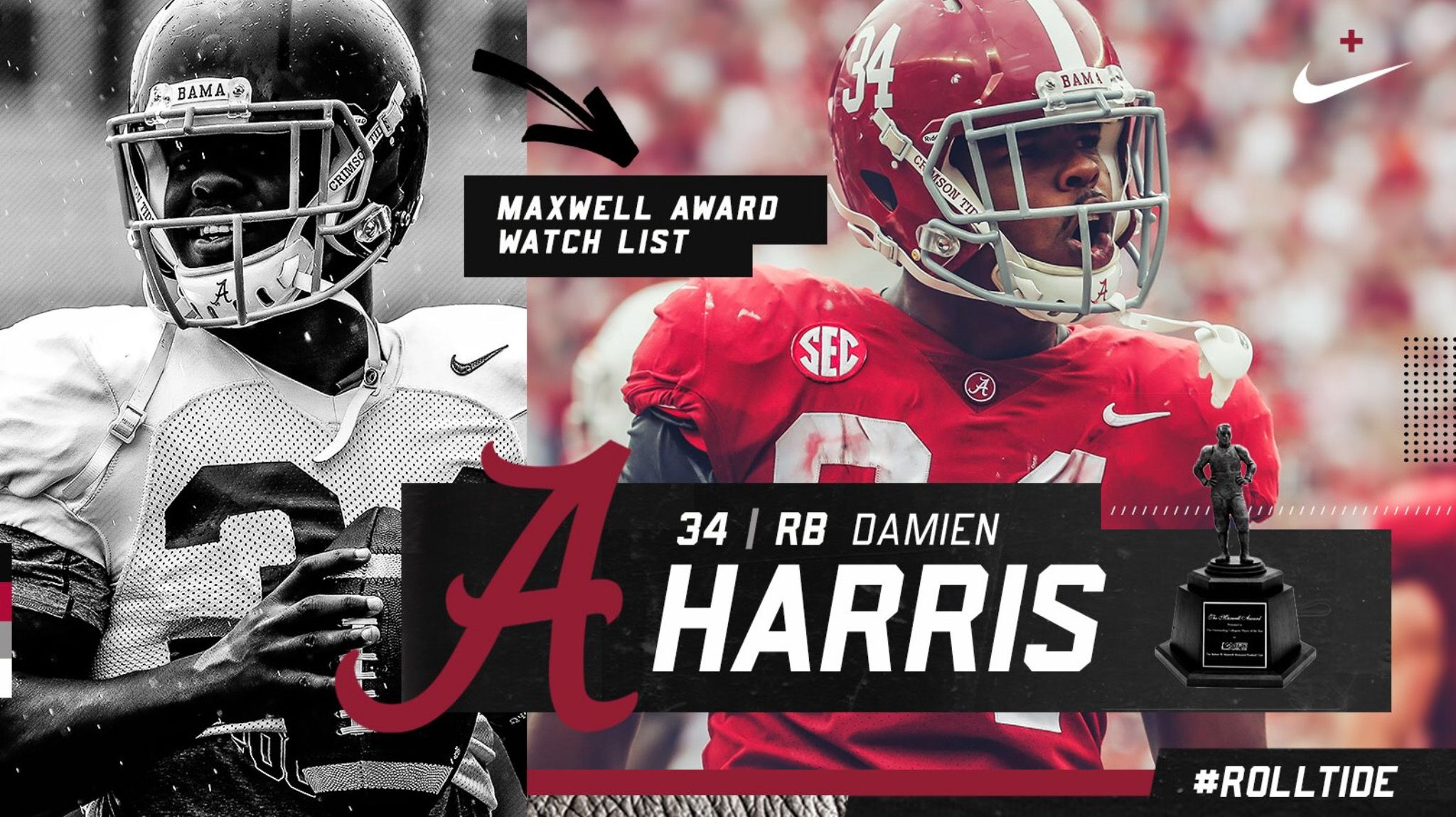 Damien Harris Maxwell Award Watch List Graphic Via Alabamaftbl On Twitter Alabama Rolltide Bama Bui Alabama Crimson Tide Alabama Football Crimson Tide
