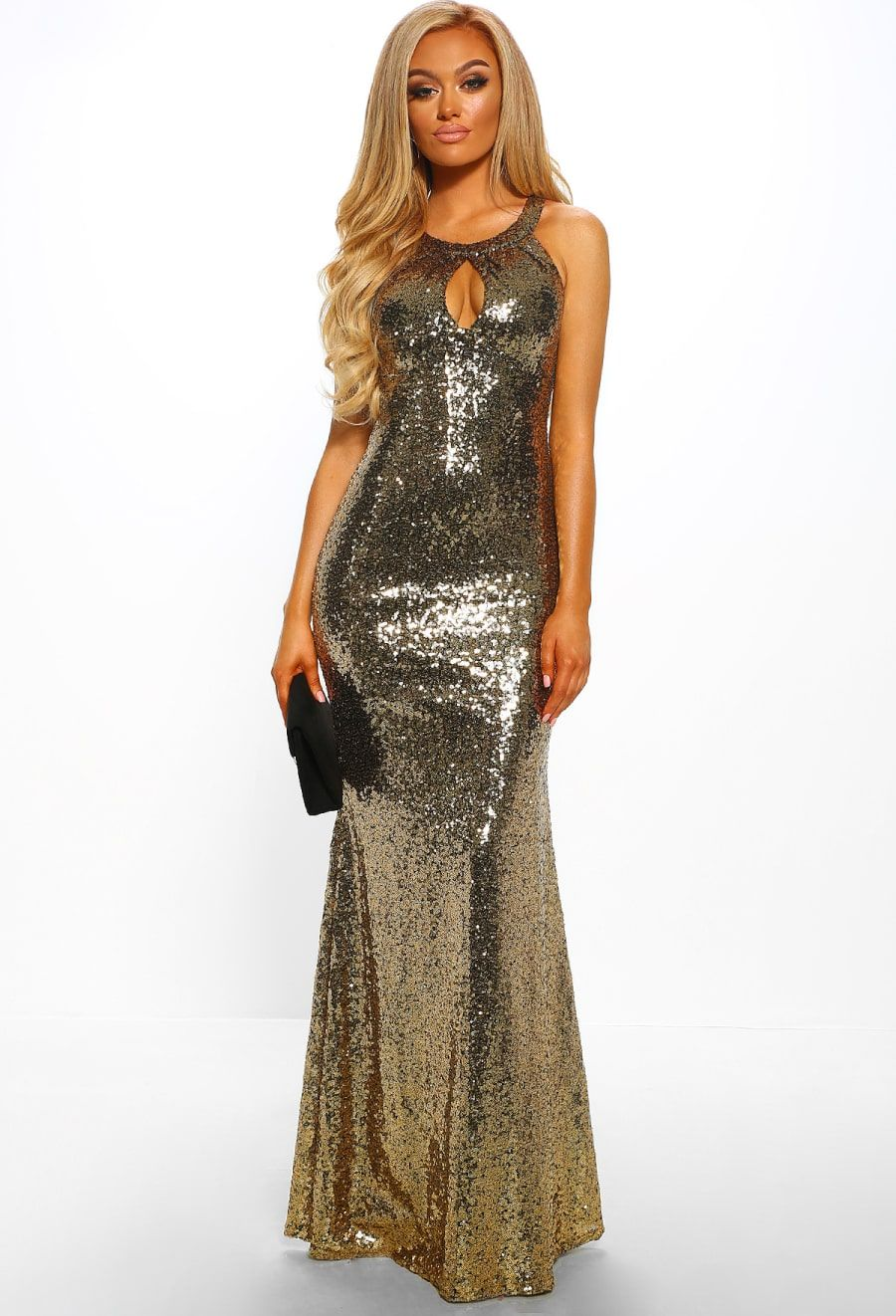 5e04d0df Born A Star Gold Sequin Frill Back Fishtail Maxi Dress - 8 | Outfits ...