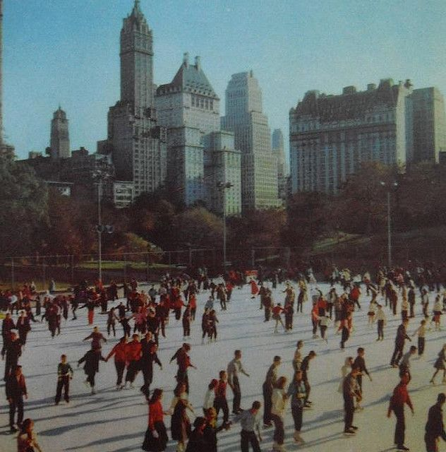 1950s Central Park Skating Rink ICE SKATERS vintage NYC photo New York ...