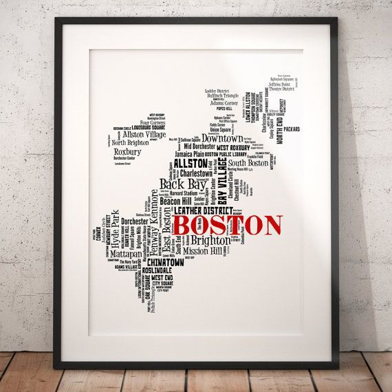 Best Film Posters : Boston Map Typography Art Poster Print Boston  Neighborhoods Boston Wall Art B