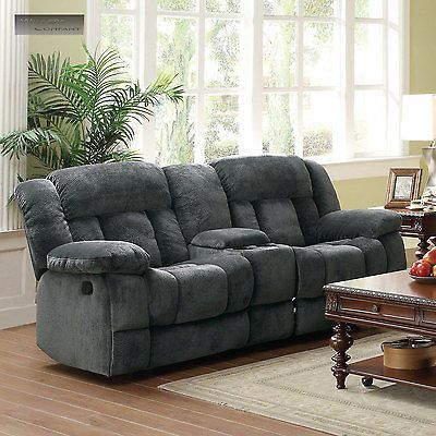 Grey Microfiber Rocker Glider Double Recliner Loveseat Man Sofa Lazy Boy