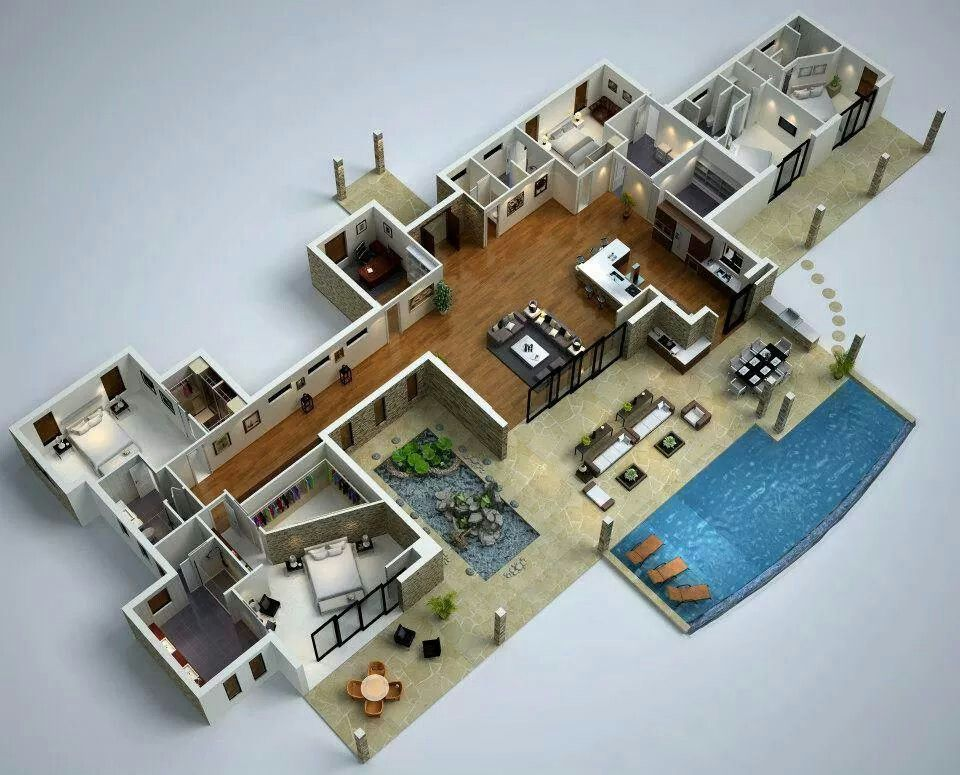 With Swimming Pool 3d House Plans Modern Floor Plans House Layout Plans