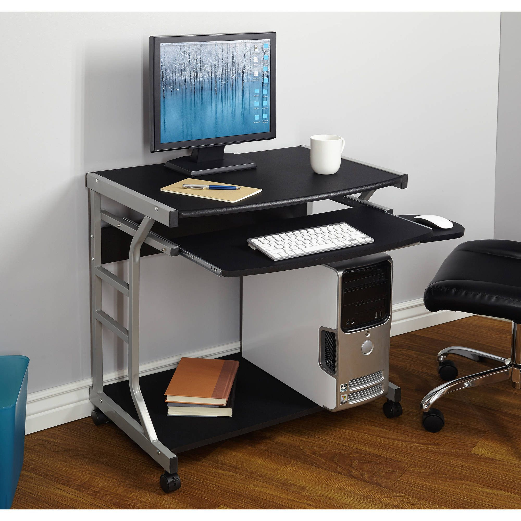 Small Compact Mobile Portable Student Computer Berkeley Desk With Wheels Home Office Furniture Furniture Mobile Computer Desk