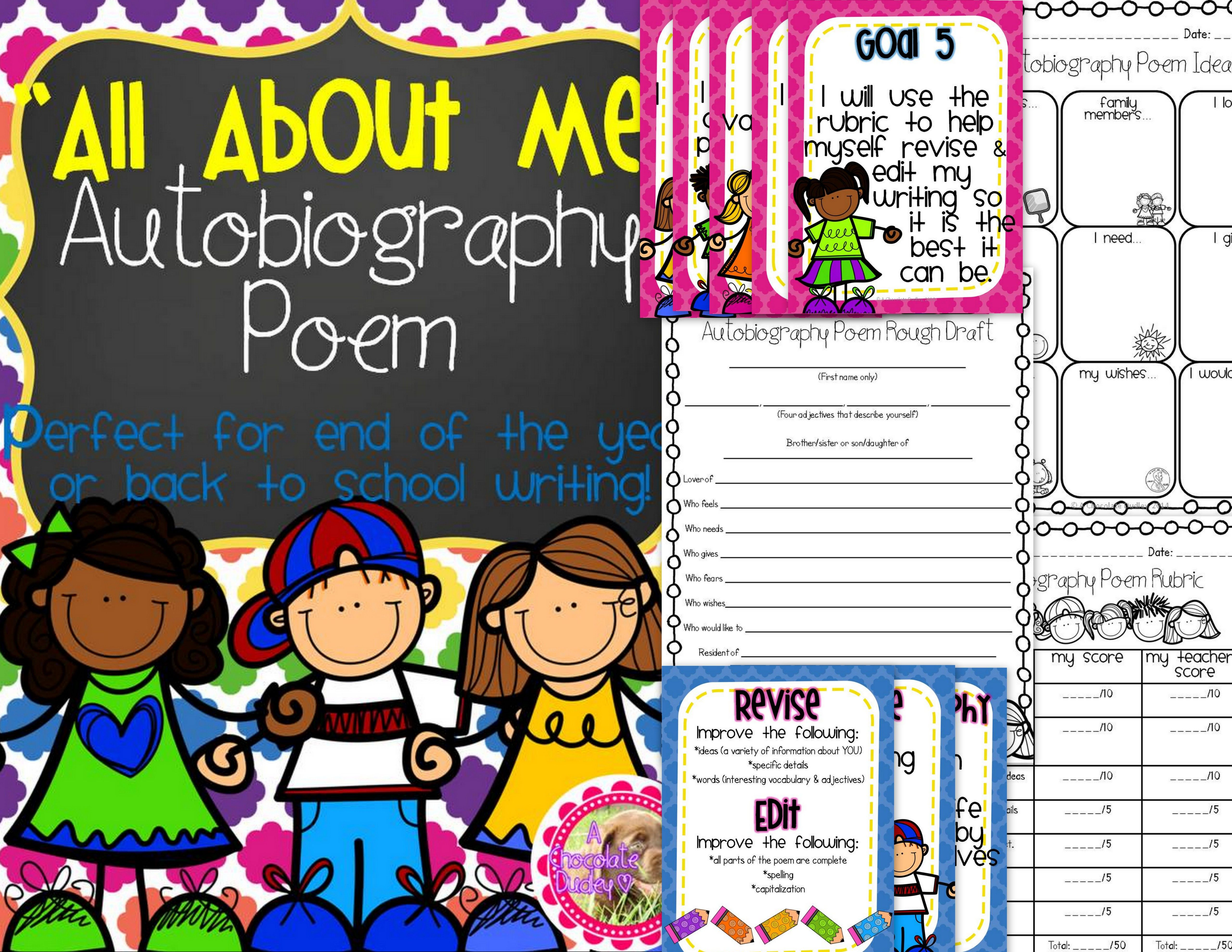 All About Me Autobiography Poem End Of The Year Or Back To School Writing
