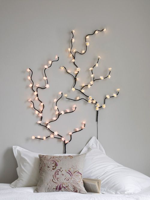 Fairy Lights...much More Creative Than A Traditional Sconce Above The Bed!