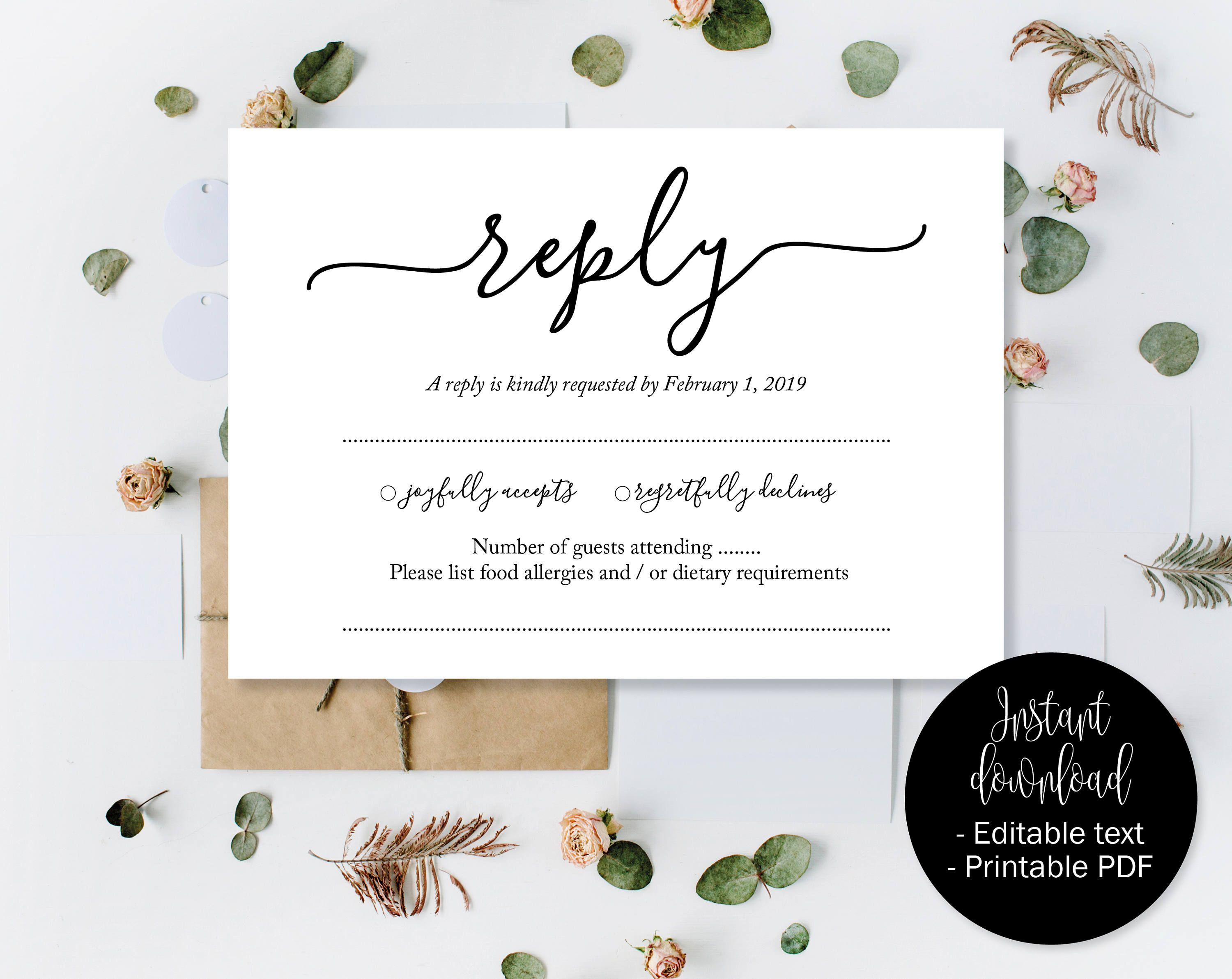 Wedding Rsvp Template.Wedding Rsvp Cards Wedding Reply Attendance Acceptance Cards Rsvp