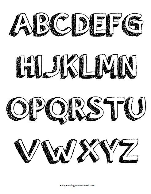 Printable Letters Coloring Pages. Set includes 1 alphabet