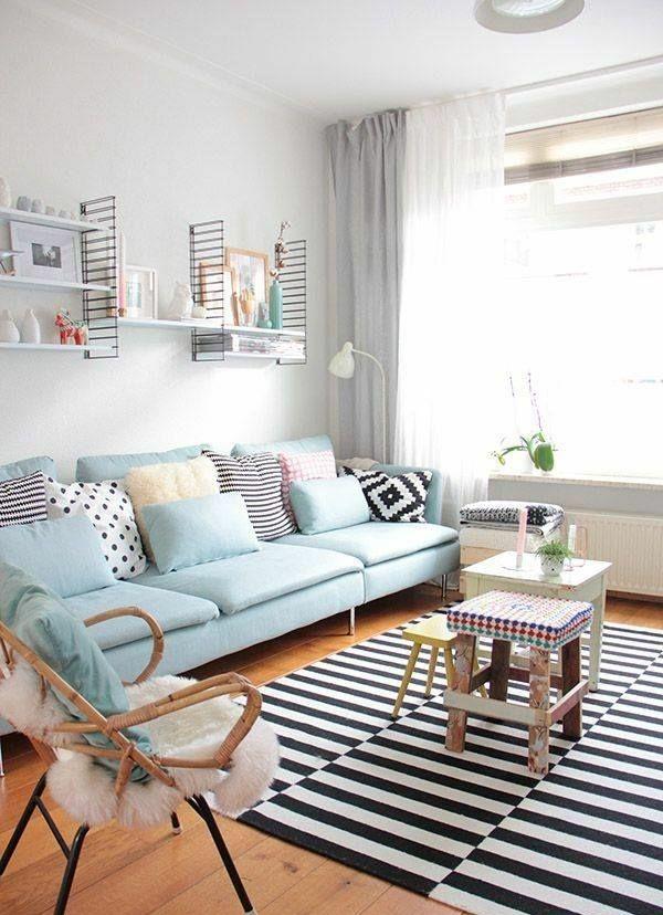 wohnzimmer ideen bilder design sofa blau Wohnzimmer Herkommer - wohnzimmer blau schwarz