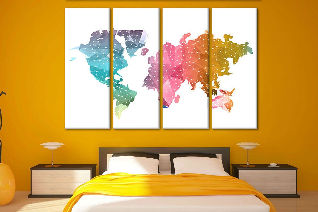 World Map Canvas Art Large Canvas Art Giant Wall Map Extra Large Wall Art Split Canvas World Map Decor Map World World World Map Decor Map Canvas Art Map Decor