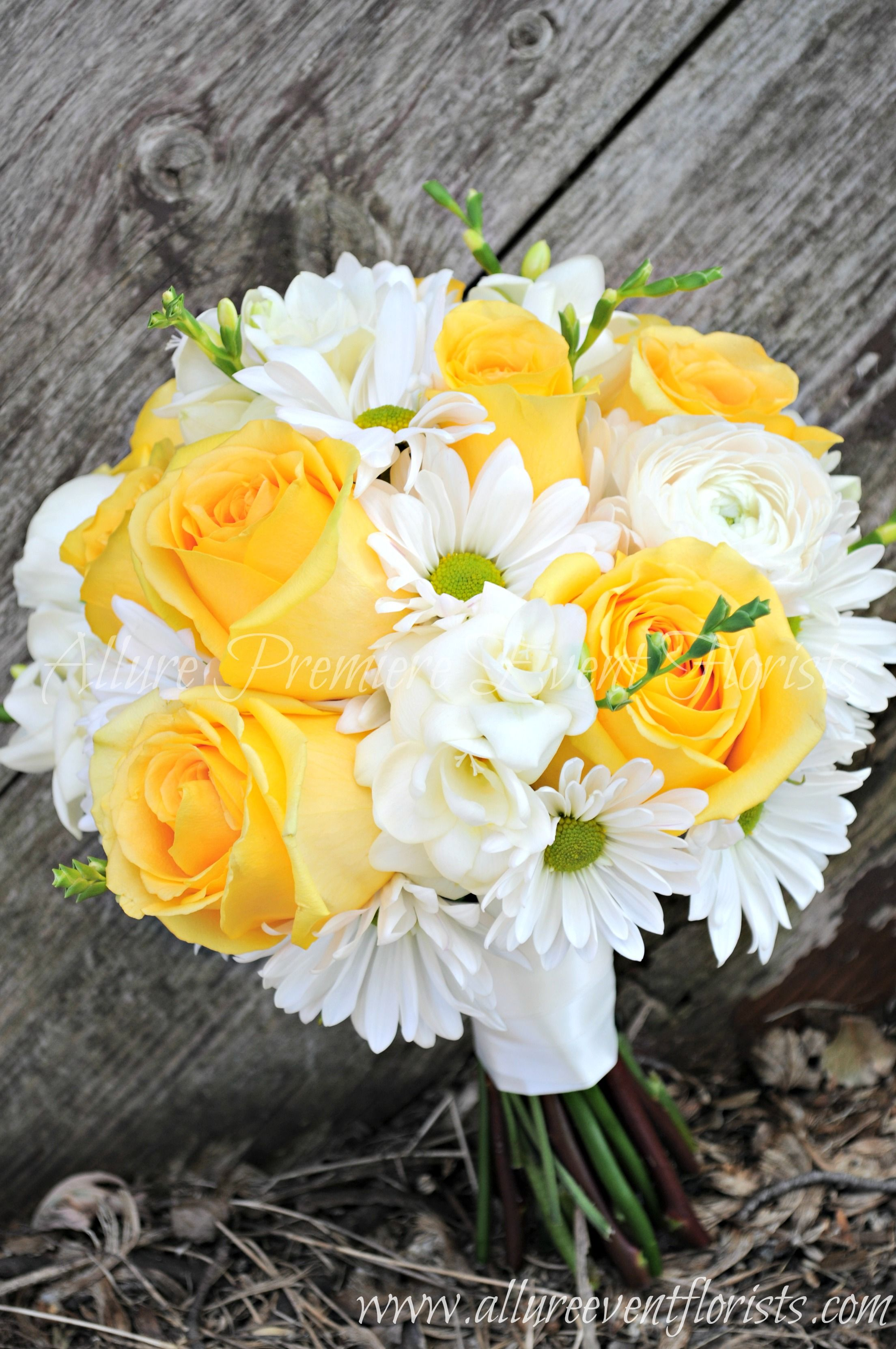 Vibrant Yellow Roses And White Daisies Sure To Make You