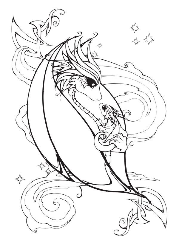 Mother and Baby Dragon Coloring Page | 2D dragons | Pinterest ...