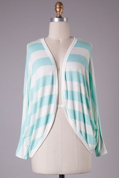 Dolman sleeves no button asymmetrical striped knitted cardigan