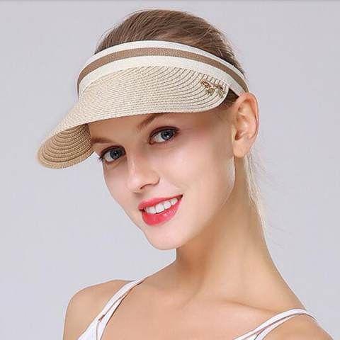 88b00d714c49b5 Summer clip on sun visor hat for women travel UV straw visor Hats ...