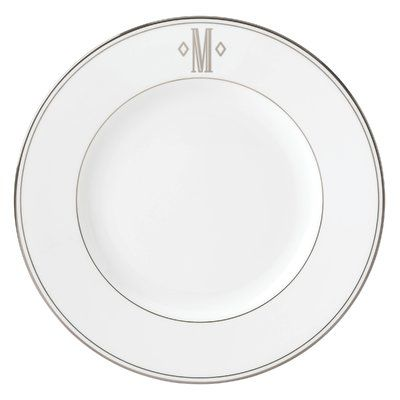 "Lenox Federal Monogram Block 10.75"" Dinner Plate Letter: M, Color: Platinum"