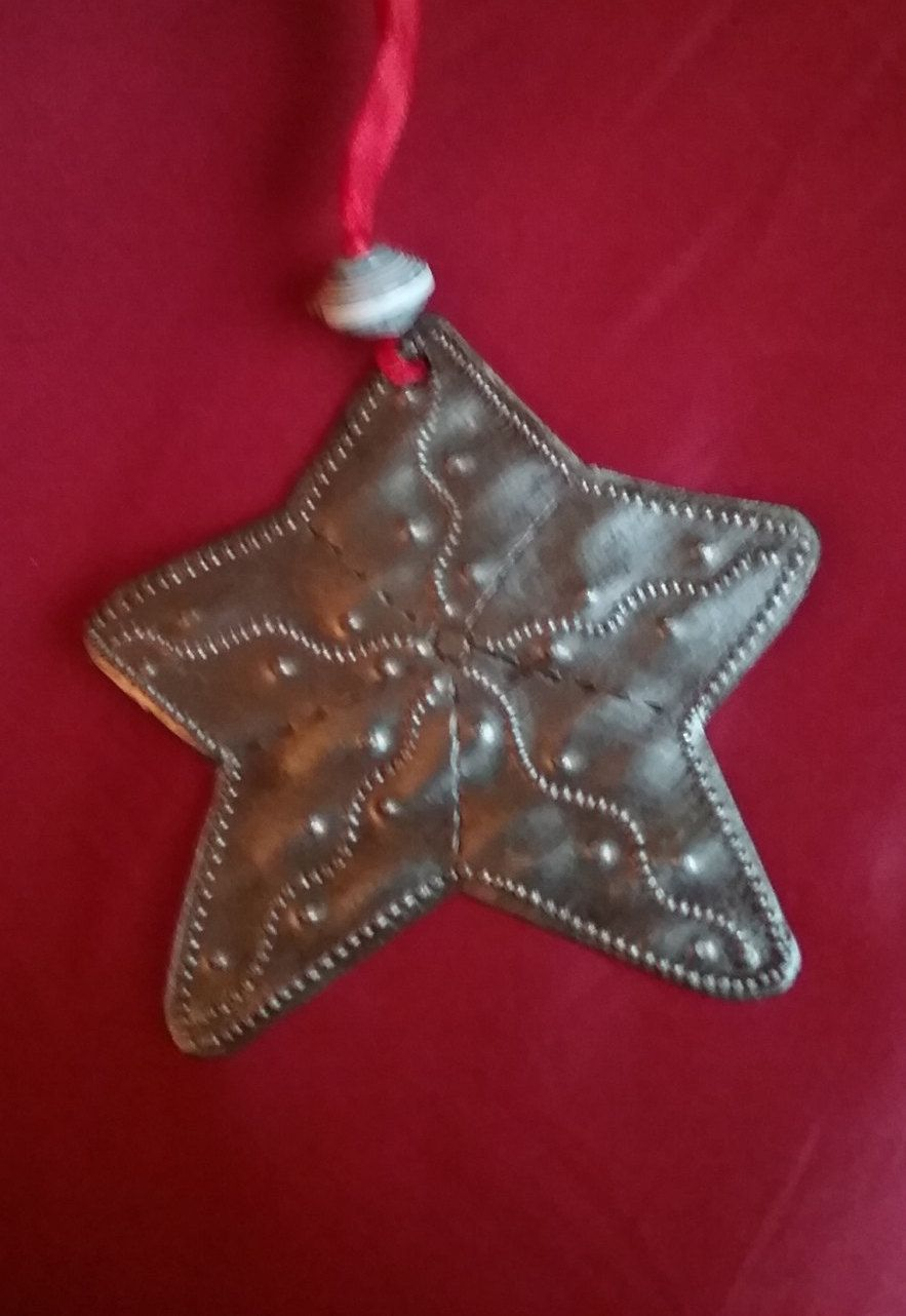 Rustic Star Ornament, Hand-punched Tin by WorldJoyCreations on Etsy