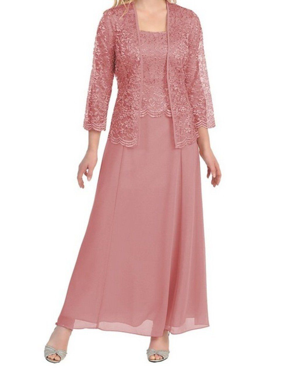 Womens Long Mother of the Bride Plus Size Formal Lace Dress with ...