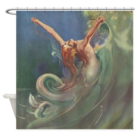 Vintage Mermaid Art Shower Curtain On CafePress Tacked Onto A Frame This Would Make An Amazing Large Scale Piece