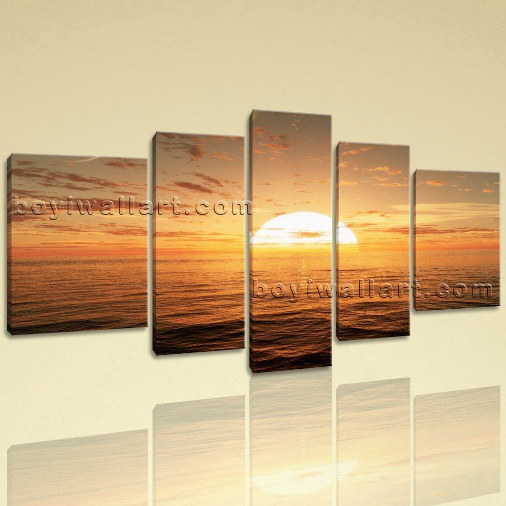 Extra large sunset glow seascape contemporary decor wall art print