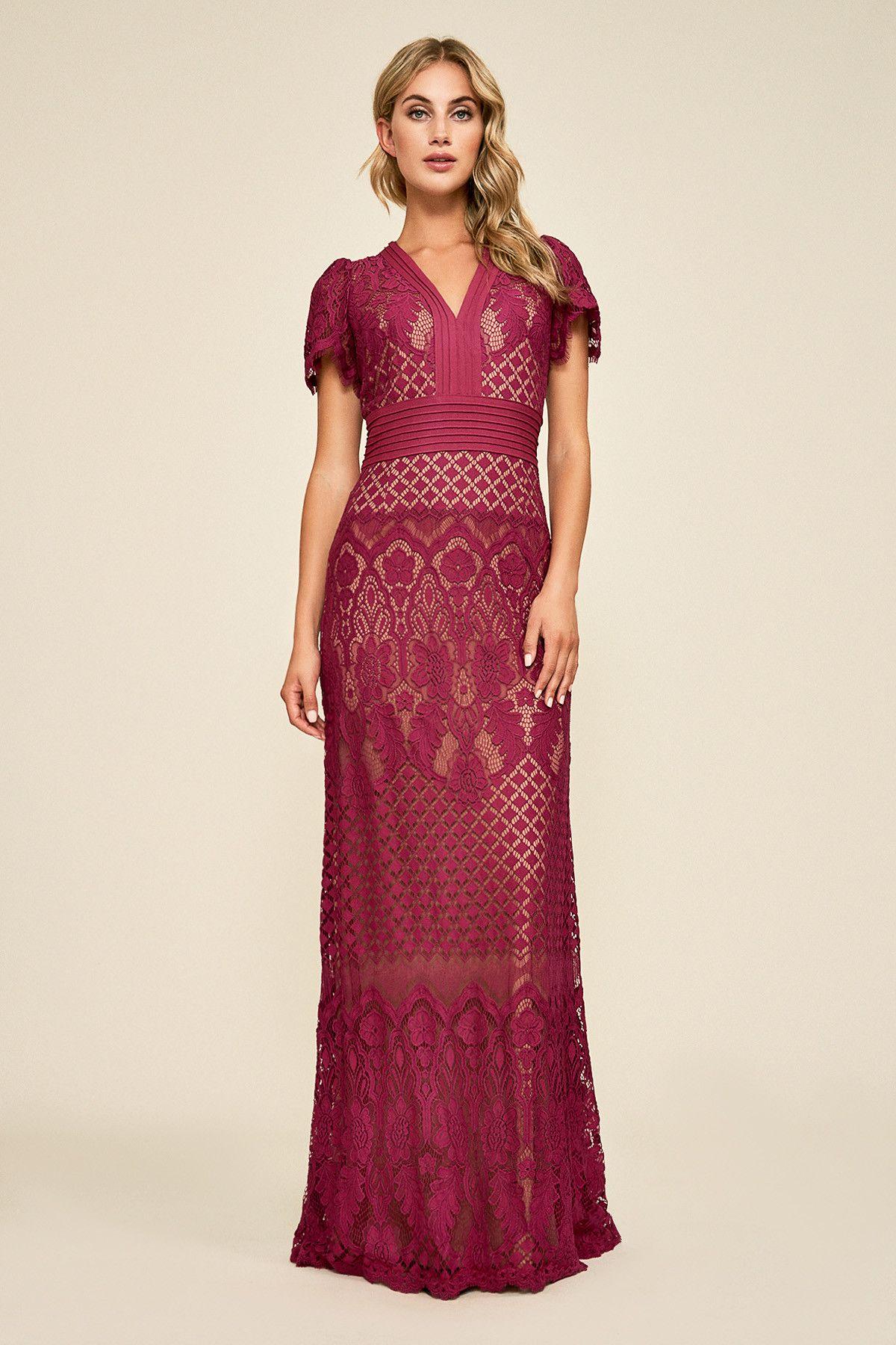 Dumin lace gown tadashi shoji lace gown burgundy